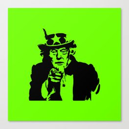 Neon Green Uncle Trump Needs You Canvas Print