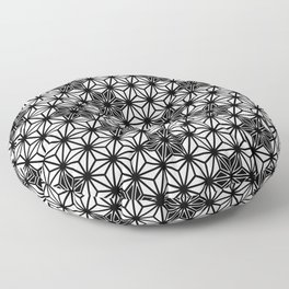 Japanese Asanoha or Star Pattern, Black and White Floor Pillow