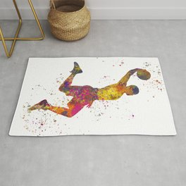 Basketball player 02 in watercolor Rug