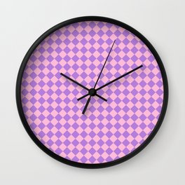 Cotton Candy Pink and Lavender Violet Diamonds Wall Clock