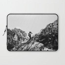 Boys Adventure | Rustic Camping Kid Red Rocks Climbing Explorer Black and White Nursery Photograph Laptop Sleeve