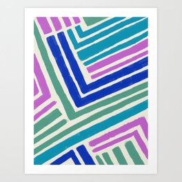 Color Lines Connections / Abstract Brushstrokes Pattern Art Print