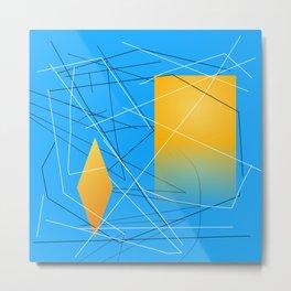 Blue Yellow Abstract Diamond Metal Print