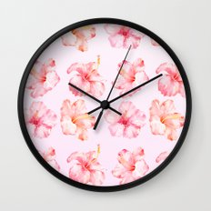 Peach Pink Hibiscus Tropical Flowers Wall Clock