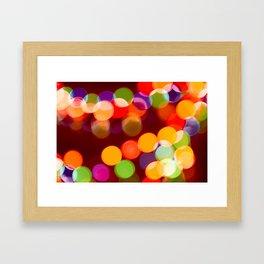 Retro Rainbow Bokeh Christmas Ligths Framed Art Print