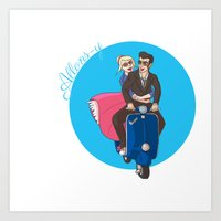 Rose and The Doctor Riding on a Vespa Art Print