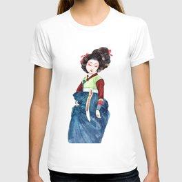 Watercolor Korean beauty - Dark Blue T-shirt