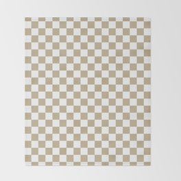 Small Checkered - White and Khaki Brown Throw Blanket