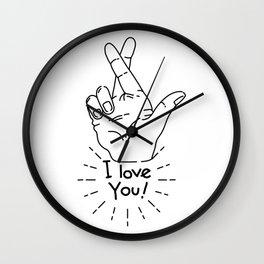 I love you - Fingers Crossed Wall Clock