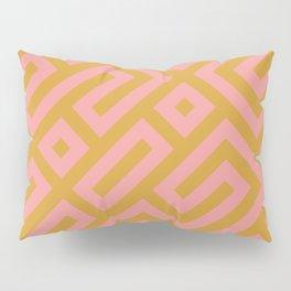 Tribal Modernist Aztec Maze Mustard Yellow and Pink Pillow Sham