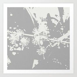 Starflowers on gray Art Print
