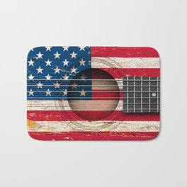 Old Vintage Acoustic Guitar with American Flag Bath Mat