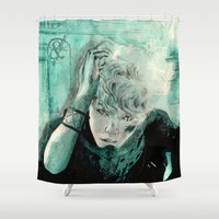 kpop Shower Curtains featuring B.A.P's ZELO by Worldandco