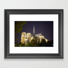 Notre Dame at Night Framed Art Print