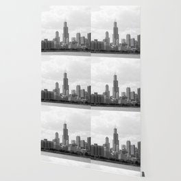 Chicago Skyline Black and White Wallpaper
