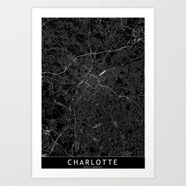 Charlotte Black Map Art Print