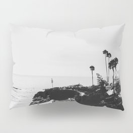 Laguna Beach | LoFi Black and White Relaxed Aesthetic Pink Sunset Palm Trees Hippie Ocean Waves Pillow Sham