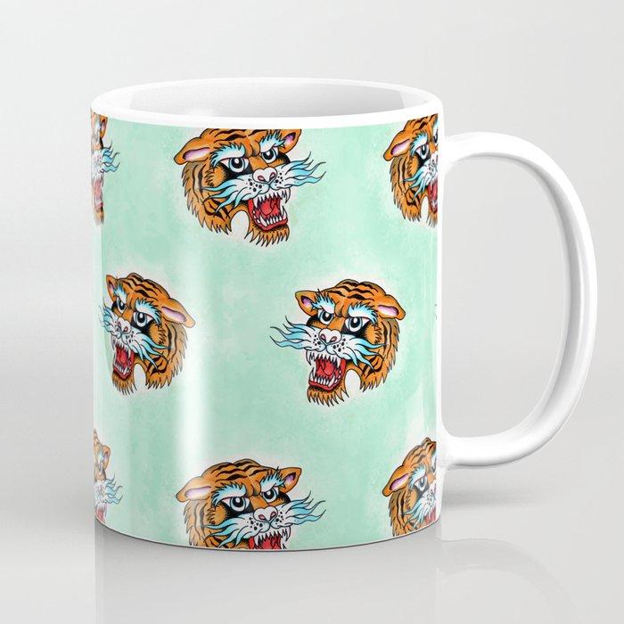 Fierce Tiger Pattern Mintish Green Coffee Mug