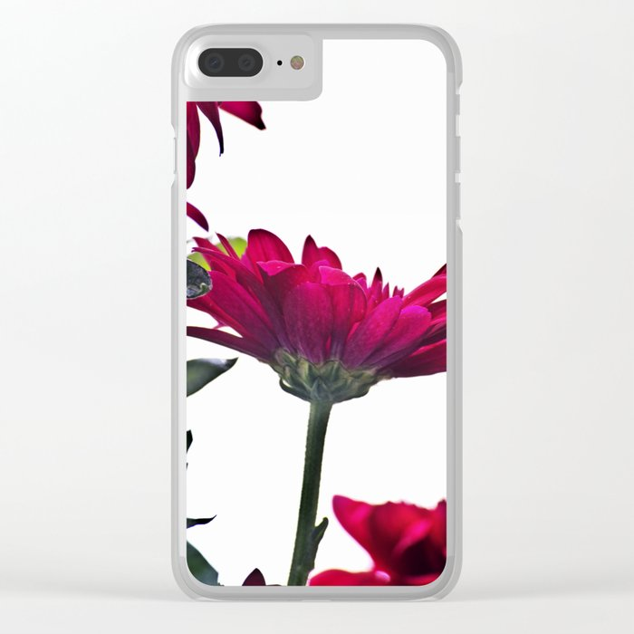 Red Chrysanthemum Flowers Clear iPhone Case