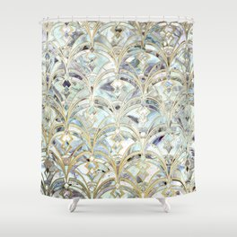 Pale Bright Mint and Sage Art Deco Marbling Shower Curtain