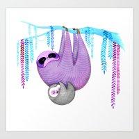sloths Art Prints featuring Sloths by Annya Kai