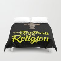 religion Duvet Covers featuring Table football is my religion by Wall about