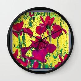Spring Yellow Colored Garden Fuchsia Purple-Red Iris Pattern Wall Clock