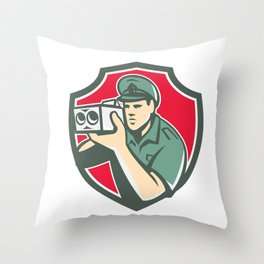 Policeman Speed Camera Shield Retro Throw Pillow