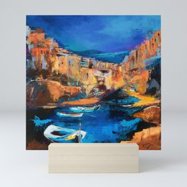 Night Colors Over Riomaggiore - Cinque Terre Mini Art Print