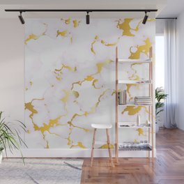 Luxury white faux marble gold leaf accent Wall Mural