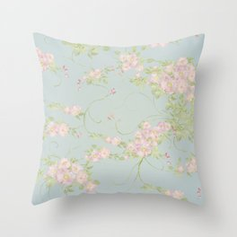 Wild Rose Watercolor Pattern Throw Pillow