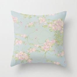 Wild Rose Watercolor Pattern Throw Pillow