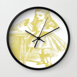 Alice with Drink Me Bottle in Gold Wall Clock