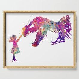 Girl and Dinosaur T-Rex Art Animals Nursery Decor Kids Room Watercolor Print Purple Home Decor Serving Tray