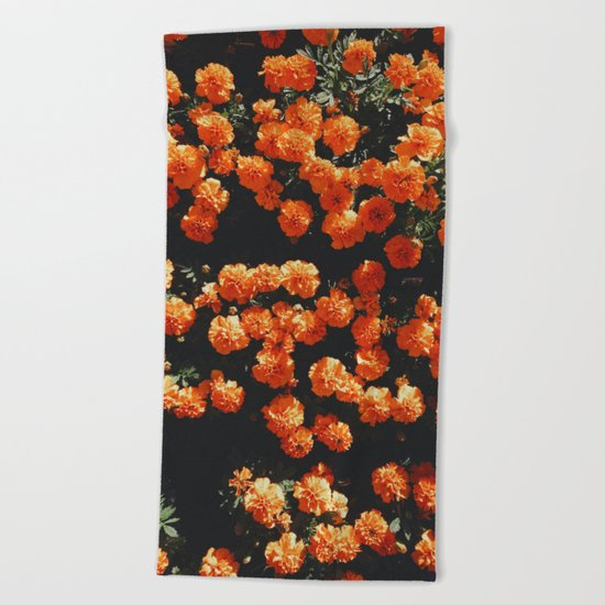 Orange Bloom Beach Towel