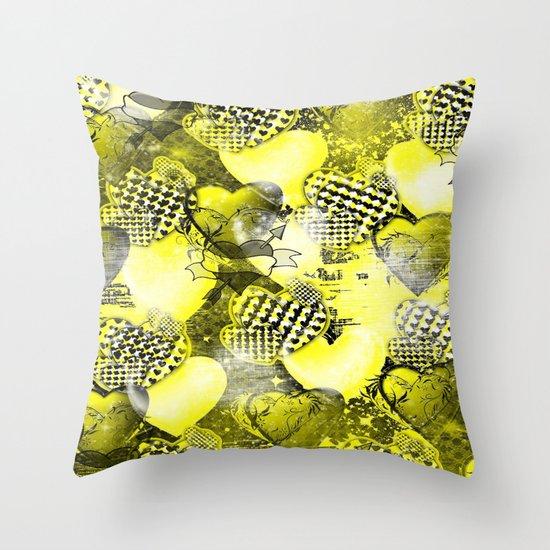 Light Bulb Hearts Series (yellow) Throw Pillow