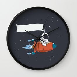 Astronaut Holds a flag in Rocket Wall Clock