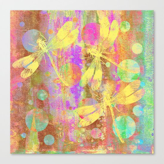 A Dragonflies and Dots Canvas Print