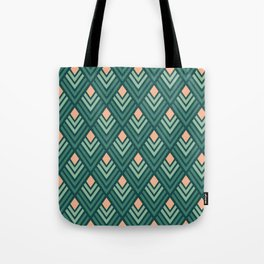 Deco pattern green and pink Tote Bag