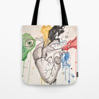 anatomical heart Tote Bags featuring Anatomical Heart by Hannah Brownfield Camacho
