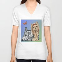 yorkie V-neck T-shirts featuring Yorkshire Terrier - Yorkie- by Nina Lyman of Dogs By Nina by Cats and Dogs by Nina Lyman