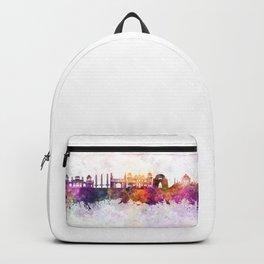 Karachi skyline in watercolor background Backpack
