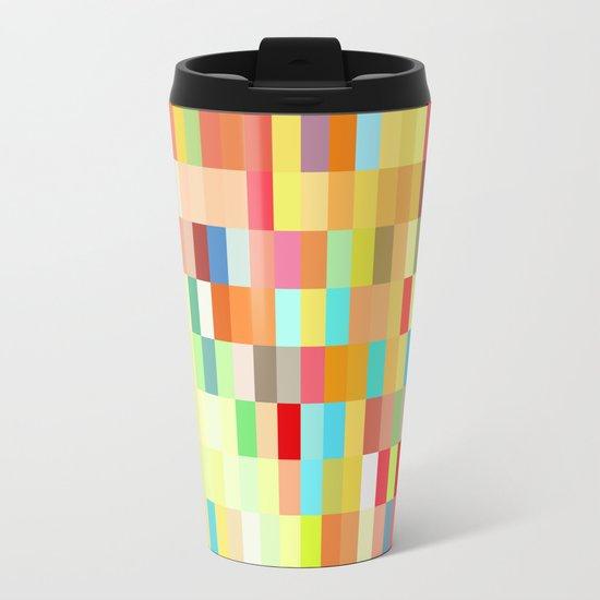 colorful rectangle grid Metal Travel Mug