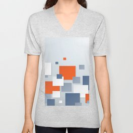 BLUE, WHITE AND ORANGE SQUARES ON A PALE BLUE BACKGROUND Abstract Art Unisex V-Neck