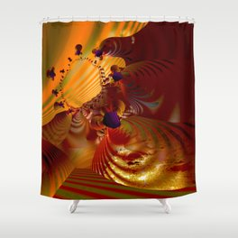 Orange glowing abstract energy Shower Curtain