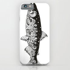 Wild Salmon, Hidden scene, dot-work, pointillism, stippling, Ocean, River, Stream, Fish, Waves Slim Case iPhone 6s