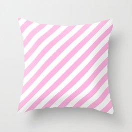 Diagonal Stripes (Pink & White Pattern) Throw Pillow