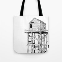 cabin Tote Bags featuring cabin fever by PAFF