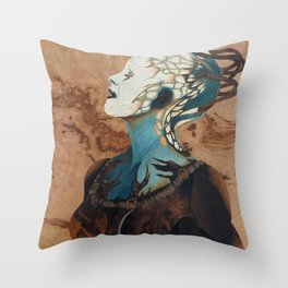 Borg queen wood marquetry design Throw Pillow