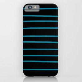 Pantone Barrier Reef 17-4530 Hand Drawn Horizontal Lines on Black iPhone Case